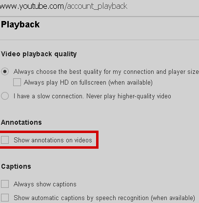 youtube permanent annotation setting