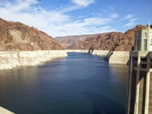 Shot from the top of Hoover dam. Clearly visible bathtub ring  indicates historic low water levels.