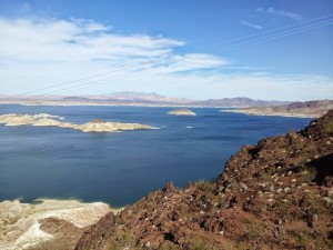 Lake mead from an overlook. Clearly low water levels, indicated from the light/dark contrast on the island. Swimming is still allowed from the Boulder beach.