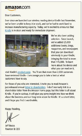 Amazon Bezos Kindle Letter  Hashemian Blog